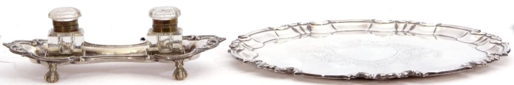 """Early 20th century silver plated tea tray with a """"Chippendale"""" edge, foliate engraved centre with"""
