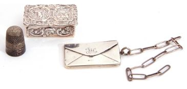 Mixed group: Small modern hallmarked rectangular lidded box, the lid embossed with putti within