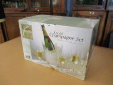 Crystal Champagne Set: 1 x Bucket & 6 x Champagne Flutes, 1 bottle