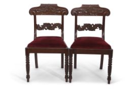 Set of six heavy quality Victorian mahogany bar back dining chairs, the backs and centre rails