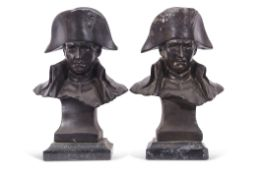 """Pair of spelter busts of Napoleon on marble plinths, reverse impressed """"Lecomte 82"""", 33cm high (2)"""