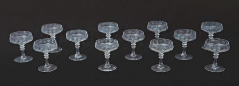 Collection of 12 mid-20th century French dessert glasses engraved with butterflies, 11cm high (12)
