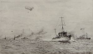 """William Lionel Wyllie, RA, RI, RE (1851-1931), """"The Convoy"""", black and white etching, signed in"""