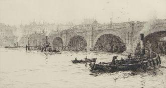 "William Lionel Wyllie, RA, RI, RE (1851-1931), ""Waterloo Bridge"", black and white etching, signed in"