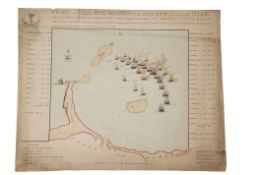"""After Vivares, """"Plan of the ever memorable engagement of Abukir at the mouth of the Nile, which took"""