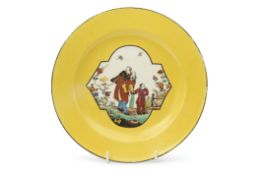 Rare early Meissen yellow ground plate the centre decorated with three Chinese style characters in