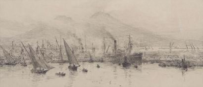 "William Lionel Wyllie, RA, RI, RE (1851-1931), ""Bay of Naples with Mt Vesuvius"", black and white"
