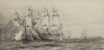 "William Lionel Wyllie, RA, RI, RE (1851-1931), ""Battle of Trafalgar"", set of three black and white"