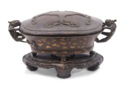 Chinese bronze gold or gilt splashed censer with Chilong handles, 18th/19th century, the oval body