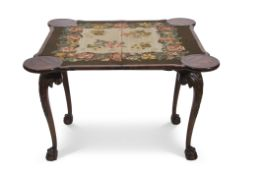 Walnut and mahogany fold-top card table, now fitted with an Aubusson style inset, to a plain