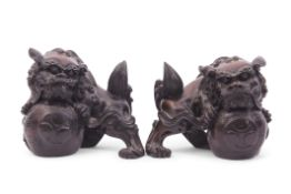 Carved pair of Chinese wooden dragons