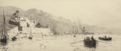 """William Lionel Wyllie, RA, RI, RE (1851-1931), """"Ville Franche Fort"""", black and white etching, signed"""