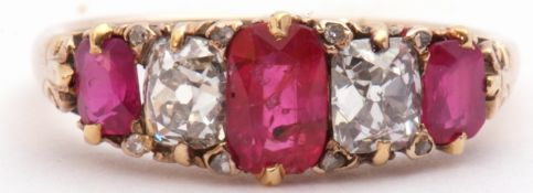Ruby and diamond five stone ring, an alternate design featuring three graduated cushion cut rubies