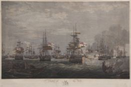 """After J Weir, engraved by T Hellyer, """"Battle of the Nile"""", pair of hand coloured engravings"""