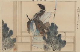Two woodblock prints mounted with inscription by Tsukioka Kogyo (1869-1927), both with scenes of Noh