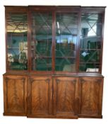 19th century mahogany break front library bookcase, moulded cornice over astragal glazed doors