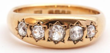 18ct gold five stone diamond ring with five graduated old cut diamonds, each individually in a