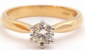 Single stone diamond ring, brilliant cut diamond 0.60ct approx, multi-claw set and raised between