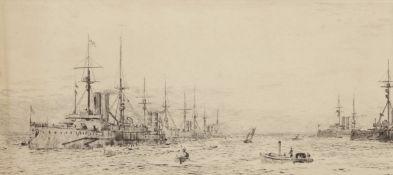 "William Lionel Wyllie, RA, RI, RE (1851-1931), ""Naval fleet at anchor"", black and white etching,"