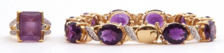 Amethyst and diamond set bracelet featuring ten oval faceted cut amethysts in cut down settings,