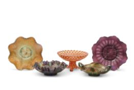 Brockwitz carnival glass lavender bowl with the four flowers variant pattern, a Fenton Autumn acorns