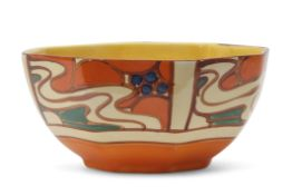 Octagonal Clarice Cliff bowl, in the Orange Sunrise pattern, the base with Fantasque Clarice Cliff