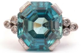 Mid 20th century zircon and diamond dress ring, the octagonal zircon bar claw set with each shoulder
