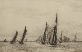 """William Lionel Wyllie, RA, RI, RE (1851-1931), """"The Jenkin Swatchway"""", black and white etching,"""