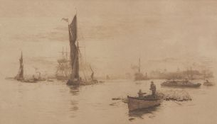 """William Lionel Wyllie, RA, RI, RE (1851-1931), """"Shipping on the Thames, Greenwich"""", black and"""