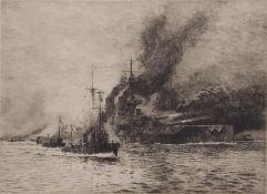 """William Lionel Wyllie, RA, RI, RE (1851-1931), """"HMS Queen Elizabeth"""", black and white etching,"""