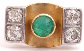 Emerald and diamond stylised ring, the cabochon round cut emerald collet set in a central concave