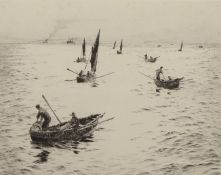 """William Lionel Wyllie, RA, RI, RE (1851-1931), """"Sheringham Crabbers"""", black and white etching,"""