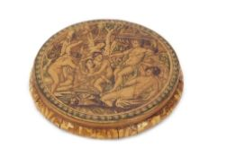 18th/19th century French marquetry veneered and papier mache circular box and lid, the lid depicting