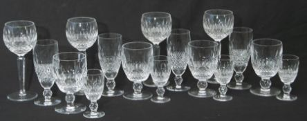 Set of Waterford Colleen pattern drinking glasses including goblets and sherry glasses (34)