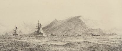 """William Lionel Wyllie, RA, RI, RE (1851-1931), """"Gibraltar, showing the Rock and warships coming"""