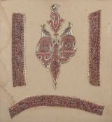 Framed fragments from an Indian shawl according to a note verso, probably the end of the 16th