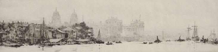 "William Lionel Wyllie, RA, RI, RE (1851-1931), ""Greenwich"", black and white etching, inscribed """