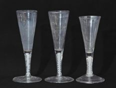 Collection of three 18th century air twist ale flutes, tallest 18cm (3)