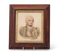 Watercolour of Lord Nelson in dark oak frame, the image 16 x 14cm