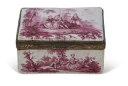 18th century Battersea gilt metal framed rectangular table snuff box, the panel to both sides of the
