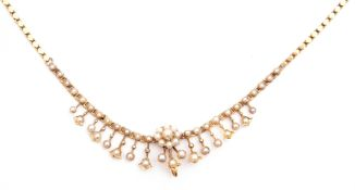 Antique seed pearl set fringe necklace, typically decorated with small seed pearls, chain and