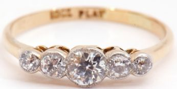 Five stone diamond ring featuring five graduated old cut diamonds in bezel and millegrain