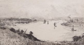 """William Lionel Wyllie, RA, RI, RE (1851-1931), """"Taking the tide - on the Medway"""", black and white"""
