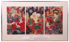 Triptych of angry Elder in the Yoshiwara by Kunisada 3 (1848-1920)