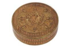 18th/19th century French marquetry inlaid and papier mache circular box and lid, the lid with raised