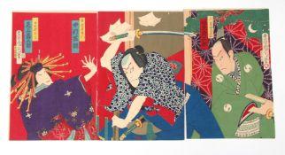 Three Japanese woodcuts of Samurai by Toyohara Kunichika (1835-1900) (3)