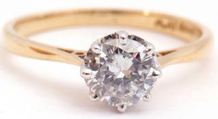 Single stone diamond ring, the brilliant round cut diamond 0.75ct approx, raised between upswept