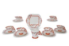 Art Deco Shelley Vogue tea set with orange geometric and stylised flower decoration in the J