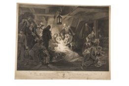 """After A W Devis, engraved by W Bromley, """"The death of Horatio, Viscount and Baron Nelson of the"""