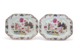 Pair of 18th century Chinese porcelain serving dishes decorated in famille rose with a tobacco